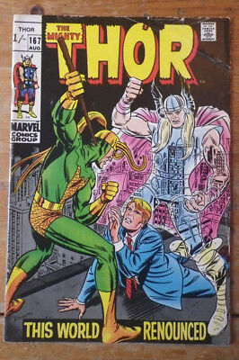 The Mighty Thor 167 Marvel comics 1969 VG ( ?) pence copy
