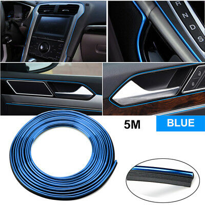 5M Car Universal Interior Gap Decorative Auto Accessories Blue Line Chrome Shiny