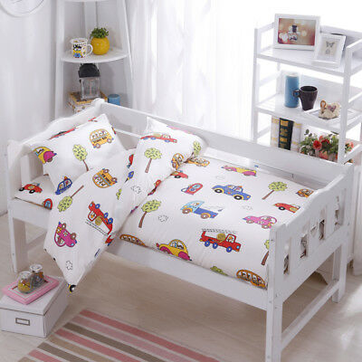 Cartoon Cars New Baby Boy Bedding Crib Cot Set Quilt Cover Padded Cotton Nursery