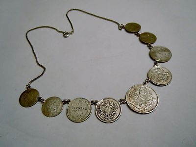 RARE imperial RUSSIAN silver COINS necklace Romanov dynasty period 1914th