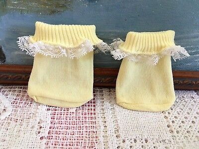 VHTF YELLOW SOCKS with White LACE FRILL Mattel MY CHILD Doll VINTAGE 1980s VGC
