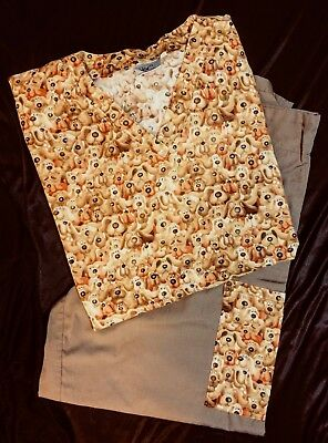 Animal Kingdom Brown Puppy Dog Matching Scrub Sets Top and Bottom