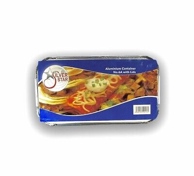 100 X No 6a Catering Aluminium Foil Food Container Take Away Box + Lids
