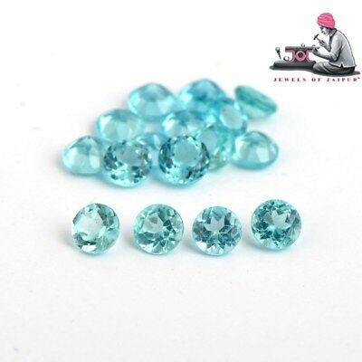 Natural Apatite 2mm Cut Round 5 Pieces Greenish Blue Color Loose Gemstone Lot