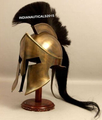 Armour King Spartan Helmet Black Plume With Stand Halloween Costume