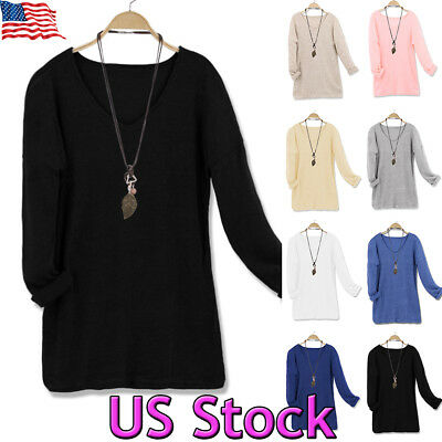 Women's Casual V-Neck Long Sleeve Oversized Tunic Top Sweatshirts Sweater S~5XL