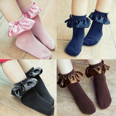 Infant Baby Kids Girl Lace Bow Ruffle Frilly Socks Toddler Cotton Ankle Socks US