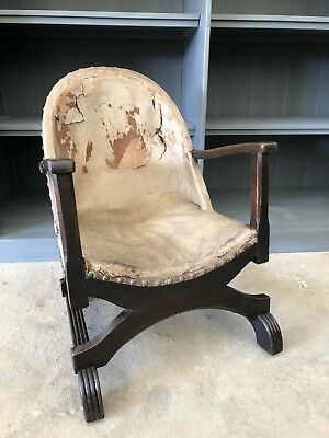 Antique Savanorola Wooden Framed Leather Tub Chair, Unusual & Decorative