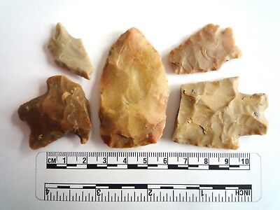Native American Arrowheads found in Texas x 5, dating from approx 1000BC  (2260)