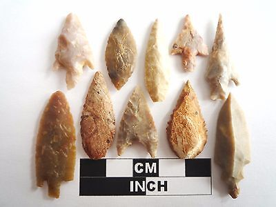 Neolithic Arrowheads x 10, High Quality Selection of Styles - 4000BC - (1068)