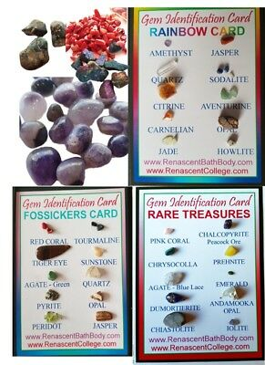 GEM Gemstone IDENTIFICATION CARD + 10-30 STONES,CRYSTALS,collectors, Rare Kit