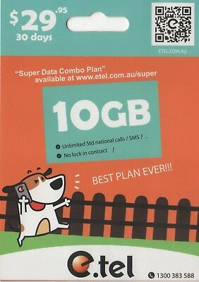 e.Tel $29.95 Unlimited Call 4G starter sim pack with 10GB of included data
