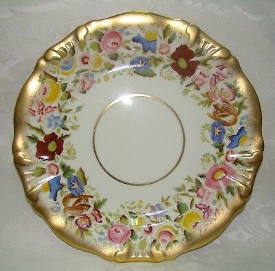 Vintage Hammersley Queen Anne Bone China Gold Gilt Chintz 13166 Plate Diam. 27cm