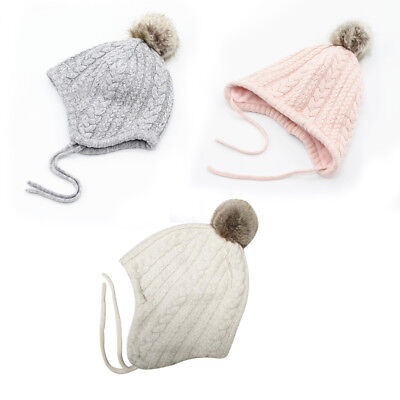 Toddler Baby Winter Hat Soft Warm Earflap Beanie Infant Knit Cute Cap AU STOCK