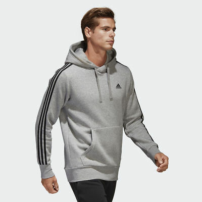 332f0479768 Adidas Men Hoodie Pullover Running 3 Stripes Training Grey Essential New  CD8680