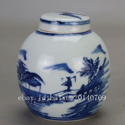 China old hand-carved porcelain Blue and white landscape pattern tea caddy c01