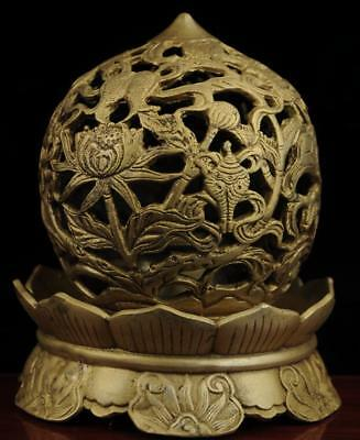 China old antique hand made brass lotus statue incense burner e02