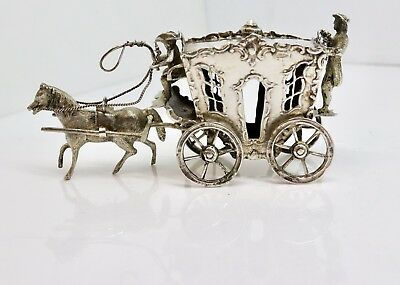 A Nice Antique Victorian Dutch? Solid Silver Horse & Carriage - Movable Wheels