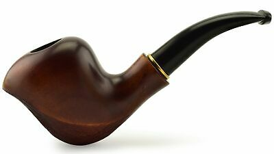 """NEW Wooden Tobacco Smoking Pipe """"Wave"""", Pear wood, For filter ~ 6"""""""