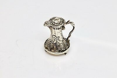 A Very Nice Antique Victorian C1896 Solid Silver Decorative Miniature Water Jug