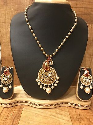Indian Pakistani Ethnic Antique Gold Plate PearlJewelry Pendant Necklace Earring