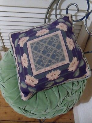 Needlepoint Hand Sewn Tapestry Cushion Lily Pads Wool Feather Pad Embroidered