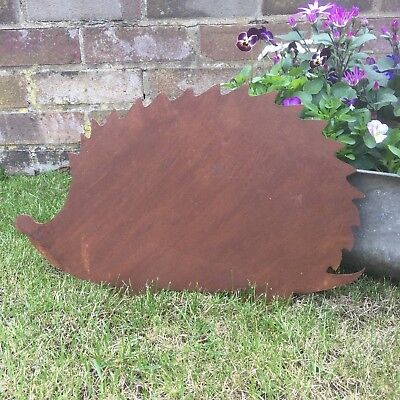 A Rusty HEDGEHOG Sign Metal Home Garden Ornament feature Decoration Animal lawn