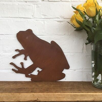 A Rusted FROG Sign Metal Home Garden Ornament Decoration Animal lawn wall statue