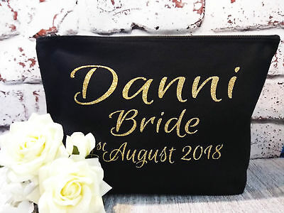 bridesmaid bride keepsake make-up bag personalised with any name cosmetic pouch