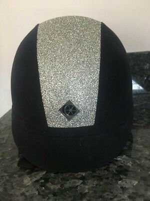 Charles Owen Navy and Silver Glitter YR8 Riding Helmet