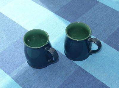 Two unmarked Denby tudor tankard mugs