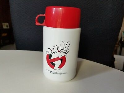 Vtg 1989 Ghostbusters Movie Lunch Box White Thermos