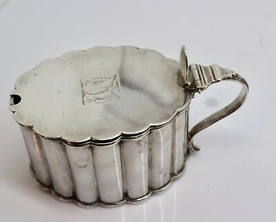 A Nice Antique Georgian Victorian Large Solid Silver Mustard Pot With Liner