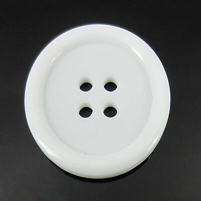 100pcs 1 inch 4-Holes White Resin Buttons Fit Sewing Scrapbook 25mm large button
