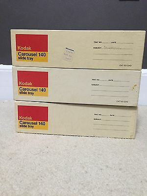 Lot of 3 Kodak Carousel 140 Slide Trays with Boxes