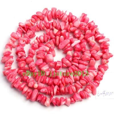 6-8mm Natural Pink Coral Freeform Gravel  DIY Gemstone Loose Beads Strand 34""