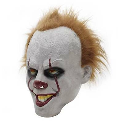 Adult Pennywise IT Clown Mask Deluxe Latex Over Head Halloween Cosplay Mask