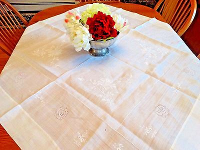 Antique VICTORIAN FINE WHITE LINEN TABLECLOTH Drawn work Rose White embroidery