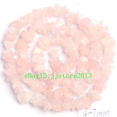 6-8mm Natural Rose Quartz Freeform Gravel DIY Gemstone Loose Beads Strand 16""