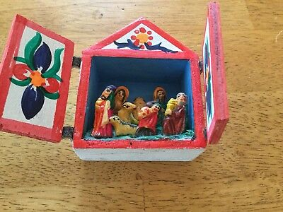 Vintage Peru Folk Art Nativity Retablo Nicho Small