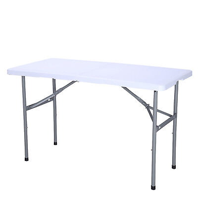4' Plastic Centerfold Folding Table Portable Indoor Outdoor Picnic Camping Table