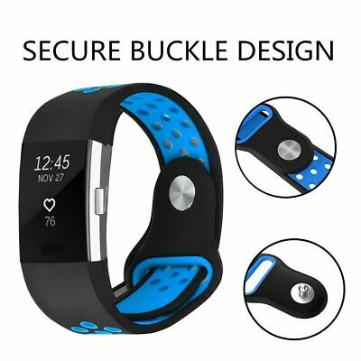 For Fitbit Charge 2 Sport Straps Watch Bands Silicone Replacement Wristband Blue