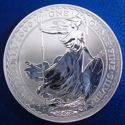 2000 Two Pound Britannia, 1 troy ounce of pure silver + capsule - top grade