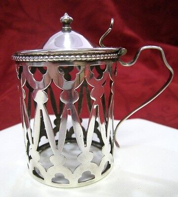 Rare Ornate Antique Sterling Silver Mustard Pot Glass Holder With Lid