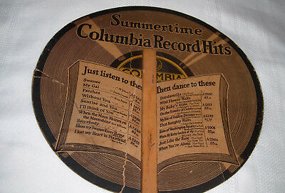 Vintage 1920 COLUMBIA Grafonola Phonograph Summertime Records Hit Personal Fan