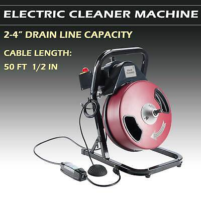 "1/2 inch by 50 feet Electric Drain Cleaner Drum Auger Snake (1"" to 4"" pipes)"
