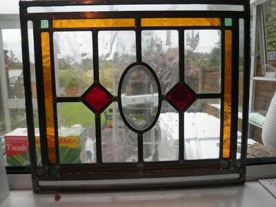 2 Stained Glass Leaded Colored Panels Vintage Art Deco Architectural Salvage Old