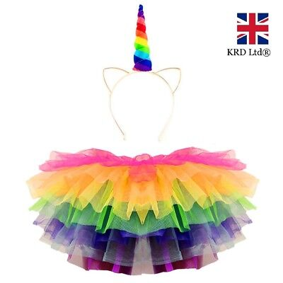 RAINBOW UNICORN TUTU COSTUME Kids Girls Halloween Pony Dash Fancy Dress Skirt UK