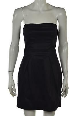 French Connection Womens Dress Size 4 Navy Blue Sheath Metallic Strapless Party
