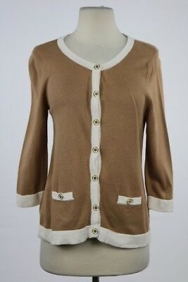 Banana Republic Womens Sweater Size M Petite Tan Ivory Cardigan Cotton Top e049665e5